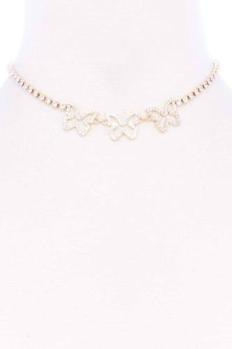 Rhinestone triple butterfly short necklace-id.cc52826