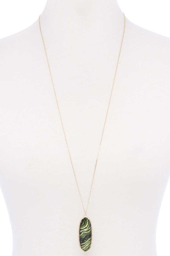Acetate oval metal edge pendant necklace-id.cc52828