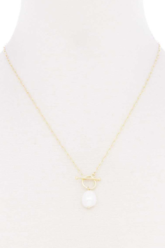 Pearl toggle clasp necklace-id.cc52829