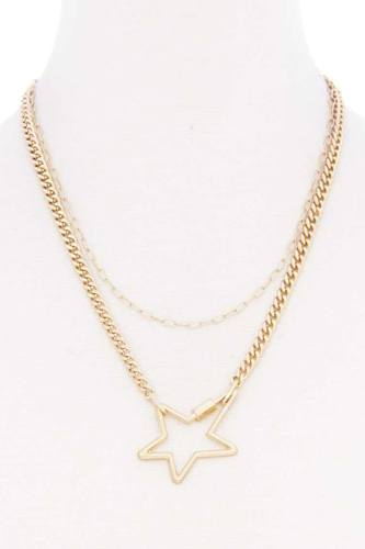 Star pendnat cuban link layered metal necklace-id.cc52831