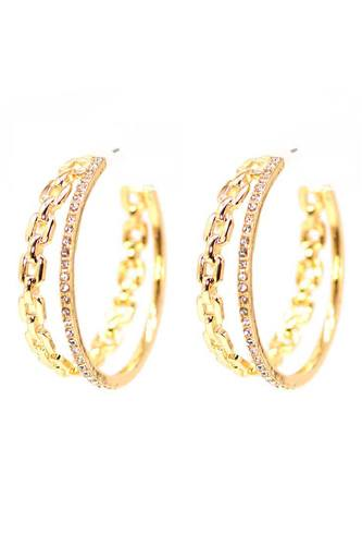 Double chain and rhinestone ring open metal hoop earring-id.cc52832