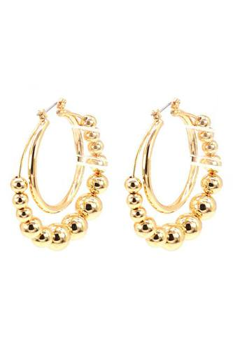 Metal balls double ring hoop earring-id.cc52833