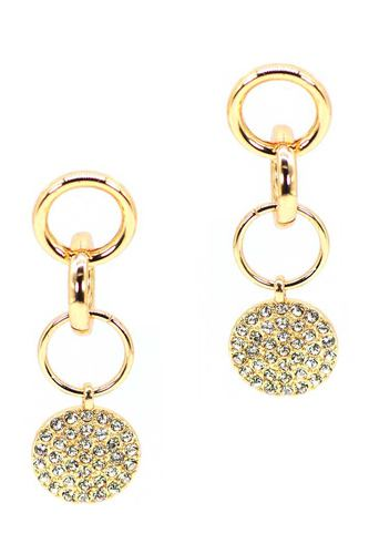 Metal ring link dangle round studded stone earring-id.cc52834