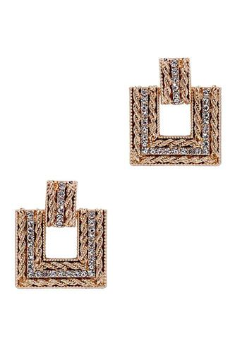 Square studded stone metal earring-id.cc52835
