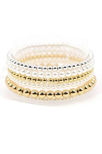 Pearl and metallic balls stretch bracelet-id.cc52837