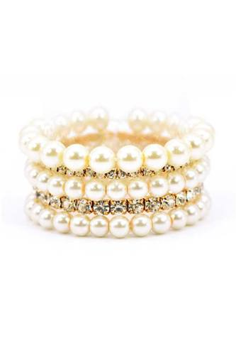 Pearl and rhinestone multi stretch bracelet-id.cc52841