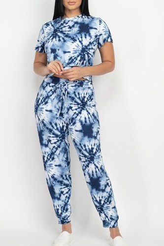 Tie-dye printed top and pants set-id.cc52845a