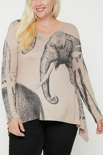 Elephant sublimation print top-id.cc52847