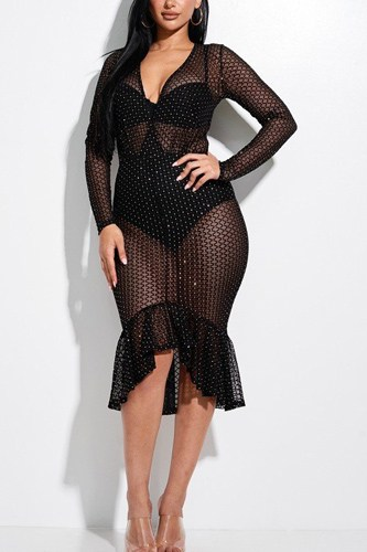 Embellished burnout mesh long sleeve mermaid midi dress with panty lining-id.cc52852