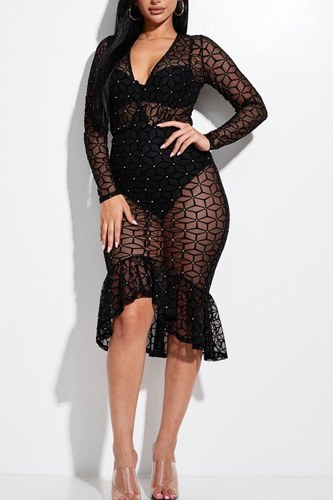 Embellished burnout mesh long sleeve mermaid midi dress with panty lining-id.cc52852a