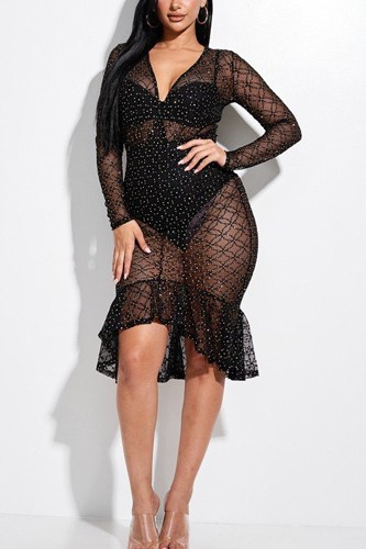 Embellished burnout mesh long sleeve mermaid midi dress with panty lining-id.cc52852b