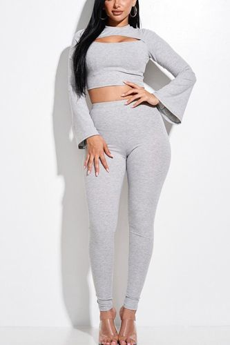 Solid rib knit bell sleeve cropped top with front cutout and leggings 2 piece set-id.cc52854b