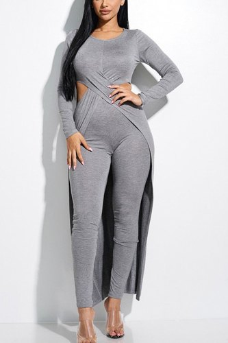 Solid heavy rayon spandex long sleeve crossed over long top and leggings 2 piece set-id.cc52855
