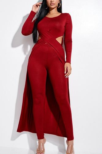 Solid heavy rayon spandex long sleeve crossed over long top and leggings 2 piece set-id.cc52855a