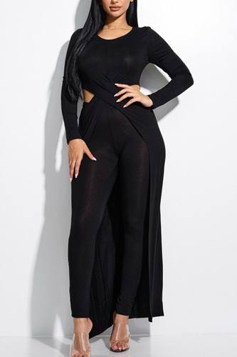 Solid heavy rayon spandex long sleeve crossed over long top and leggings 2 piece set-id.cc52855b