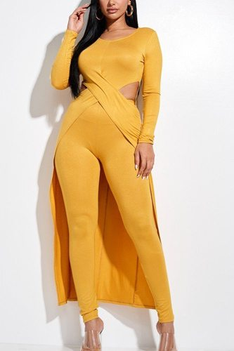 Solid heavy rayon spandex long sleeve crossed over long top and leggings 2 piece set-id.cc52855c