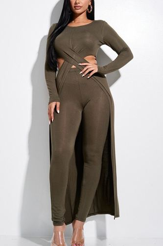 Solid heavy rayon spandex long sleeve crossed over long top and leggings 2 piece set-id.cc52855d