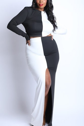 Color blocked maxi skirt front slit set-id.cc52861