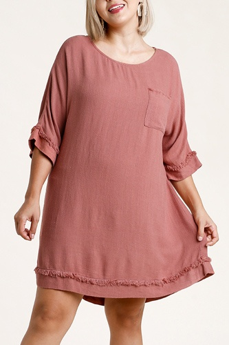 Linen blend round neck half sleeve dress with chest pocket and frayed edge detail-id.cc52862