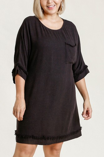 Linen blend round neck half sleeve dress with chest pocket and frayed edge detail-id.cc52862b