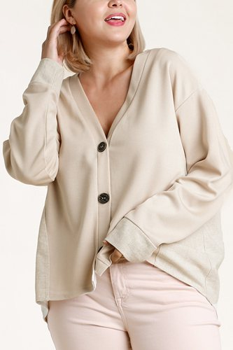 Linen blend button down cardigan with high low hem-id.cc52863a