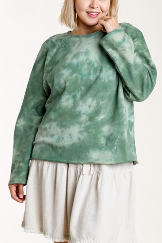 French terry tie-dye raglan long sleeve top with raw hem-id.cc52864