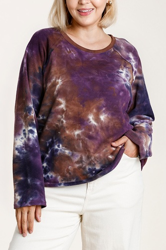French terry tie-dye raglan long sleeve top with raw hem-id.cc52864a