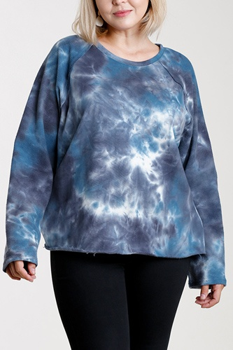 French terry tie-dye raglan long sleeve top with raw hem-id.cc52864b