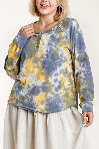Tie-dye button front long raglan sleeve top with raw hem-id.cc52865