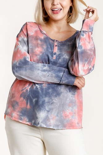 Tie-dye button front long raglan sleeve top with raw hem-id.cc52865a