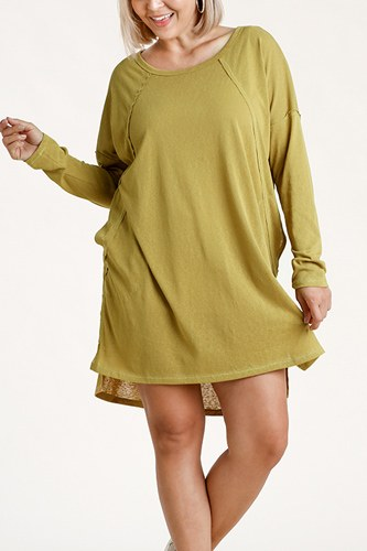 Long raglan sleeve round neck raw edged detail dress with side slits and pockets-id.cc52886