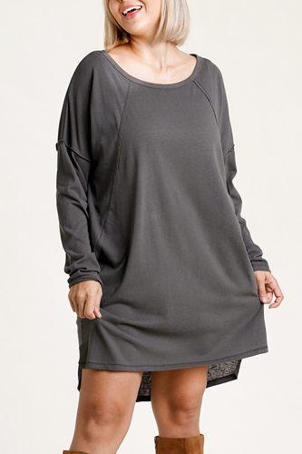 Long raglan sleeve round neck raw edged detail dress with side slits and pockets-id.cc52886a