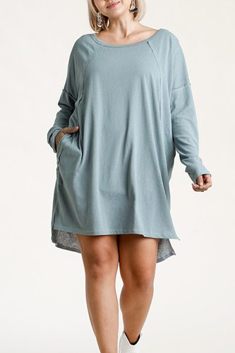 Long raglan sleeve round neck raw edged detail dress with side slits and pockets-id.cc52886b