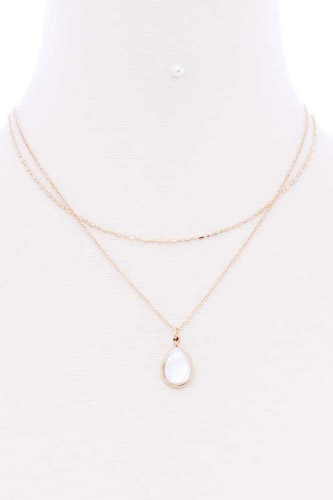 2 layered teardrop pendant multi metal necklace-id.cc52896
