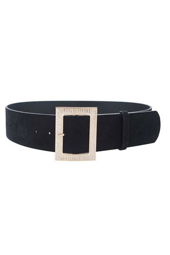 Rectangle rhinestone buckle suede belt-id.cc52910