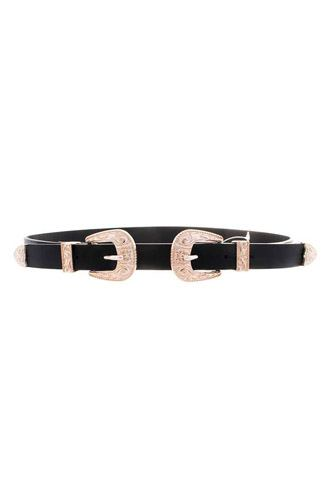 Double gold pattern metal buckle western belt-id.cc52916