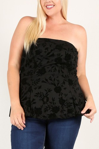 Plus size floral mesh flocking tube top with flare bodice-id.cc52928