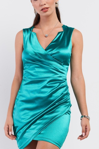 Emerald green satin effect sleeveless v-neck wrap front detail mini dress-id.cc52942