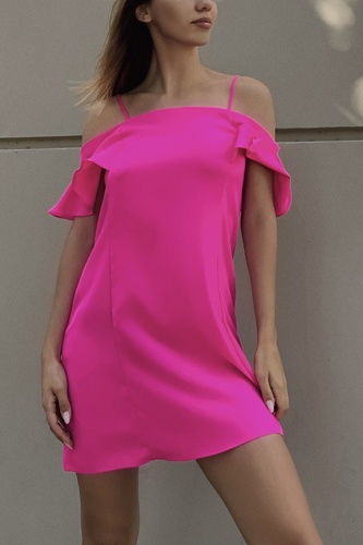 Hot pink cold shoulder ruffle mini shift dress-id.cc52944