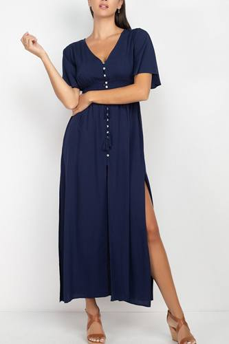 Side slit smocked waist maxi dress-id.cc52961