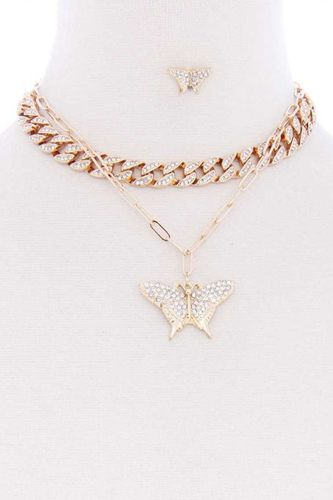 Rhinestone studded link chain with butterfly pendant necklace earring set-id.cc52980