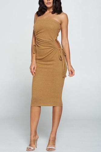 Strapless solid color bodycon dress-id.cc52992