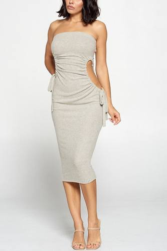 Strapless solid color bodycon dress-id.cc52992a
