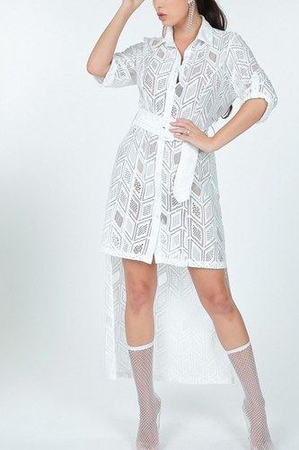 Belted hi low placket lace shirt dress-id.cc53003