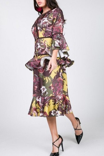 Cascade ruffle sleeve frill tiered bottom print midi dress-id.cc53006a