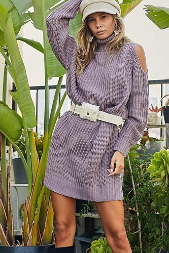 Turtle neck cold shoulder oversize sweater dress-id.cc53016