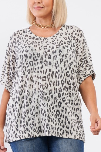 Plus light grey leopard print relaxed round neck top-id.cc53017