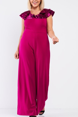 Plus sleeveless satin ruffle shoulder detail v-neck wide leg jumpsuit-id.cc53018a