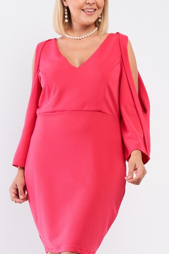 Plus coral pink plunging v-neck long slit sleeve detail mini dress-id.cc53024