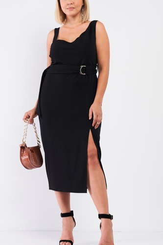 Plus sleeveless asymmetrical shoulder front slit detail belted dress-id.cc53026